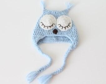 Newborn owl - Owl boys hat - Photo prop hat - Newborn props - Baby boy props - Photo prop owl - Baby boy props - Photo prop owl hat - Blue