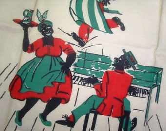 Vintage 1930s BLACK AMERICANA LiNEN Tea Towel Bar PIANO PLaYER JaZZ BLuES MuSIC DaNCE MaMMY WAiTER Cook New old Stock Very RaRE CoLLECTIBLE