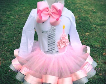 Pink and Silver Ribbon Trimmed Tutu Set