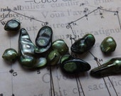 Rustic  blister Pearls, green pearls, blister pearls