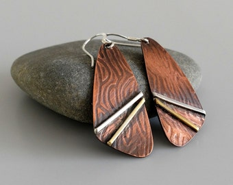 Mixed Metal Earrings, Copper Brass Silver Earrings, Artisan earrings, Dangle Earrings, Rustic Earrings, Drop Earrings, Metalsmith Earrings