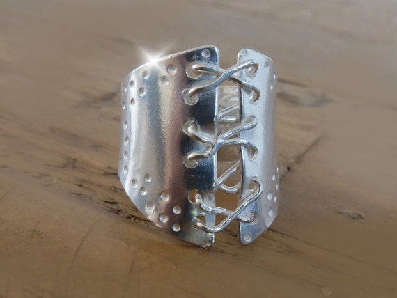 Corset Ring, Sterling Silver Laced Corset Ring, Bondage Ring, 50 Shades of Grey Ring, BDSM Ring, Wide Silver Ring, Laced Up Ring