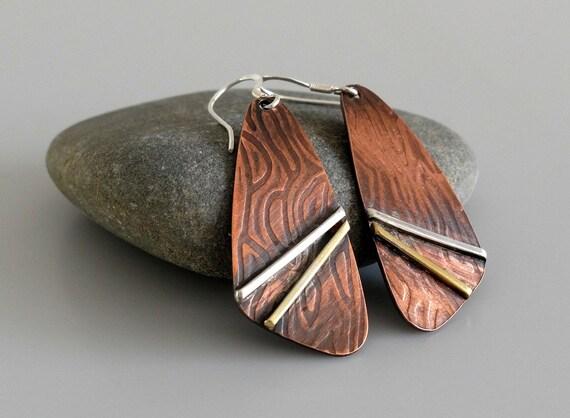 Mixed Metal Earrings, Copper Brass Silver Earrings, Artisan earrings, Dangle Earrings, Rustic Earrings, Drop Earrings, Metalsmith Earrings