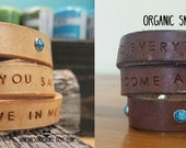 YOU customize!!!! Organic Leather Wrap bracelet