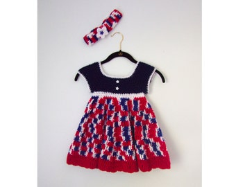 Baby Dress - Toddler Dress - Summer Dress- Red White and Blue dress - Patriotic - 4th of July Dress - Sun Dress - On Sale - Clearance