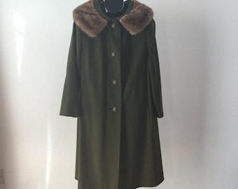 Olive Green Wool Swing Trapeze Coat