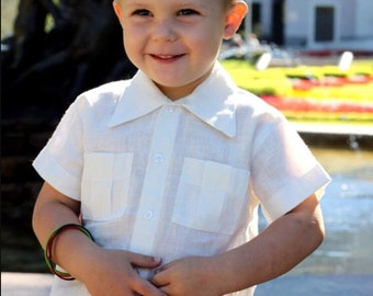Boys white shirt linen short sleeve beach soft wedding party special occasion birthday baptism baby boy infant summer