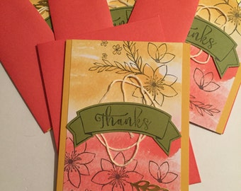 Stampin' Up! Paper Pumpkin (4) thank you cards