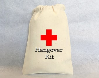 Hangover Kit, set of 20 party favor bags, Cotton Drawstring Bags - Great for Bachelorette or Bachelor Parties 4x6