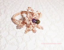 Woven ring Miyuki Delica beads, amethyst beads and metal, adjustable stand.