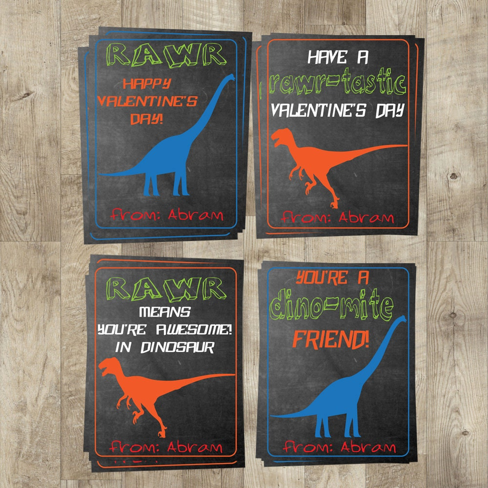 Dinosaur Valentines Day Cards Kids By CelebrationsByRusset