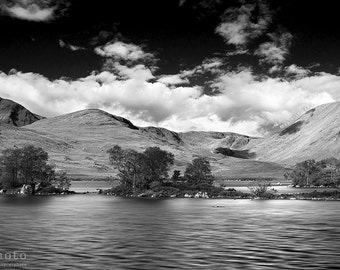 Black and White Landscape, Scotland Print, Scottish Scenery, Black and White Wall Art, Rannoch Moor, Glencoe, Highlands, Hills, Water