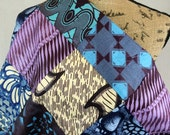 Made in Mali--African Wax Print Fabric--Patchwork Fabric--African Print--Purple, Turquoise, & Brown Patches--African Fabric by the HALF YARD