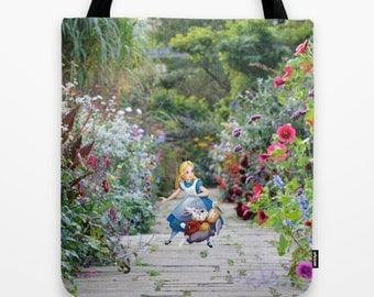 Alice in Wonderland with the White Rabbit Tote Bag