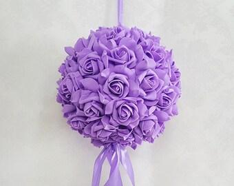 Lavender Kissing Ball Light Purple Flower Balls Foam Flower Pomander Balls For Outdoor Ceremony Flower Girls Wedding Centerpieces