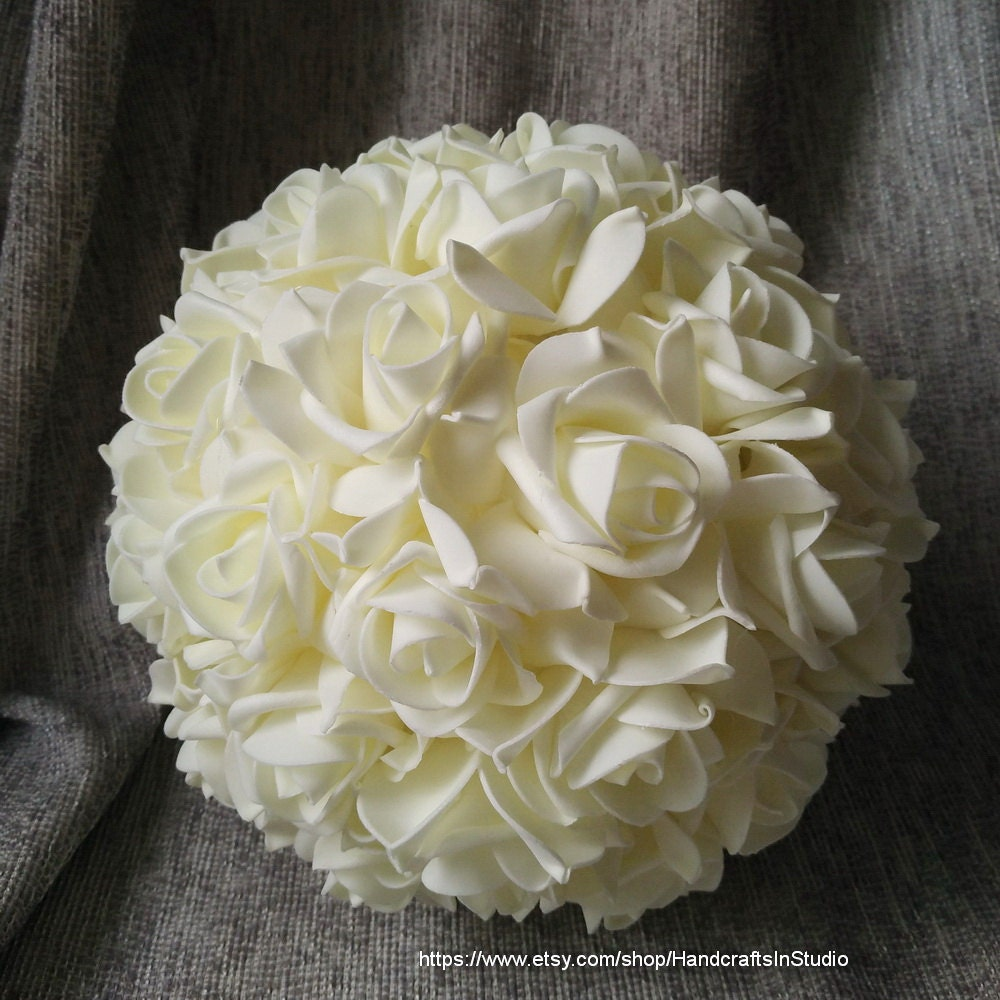 Doing Your Own Flowers For A Wedding: Ivory Kissing Ball 9 Pomanders Flower Balls For Wedding