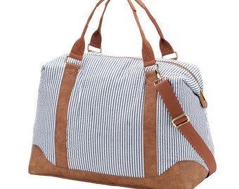 Large Weekender Bag in Blue Seersucker. Pink Sullivan, Emerson, or Mia Tile. Personalized FREE just for you.