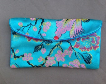 mini blue asian inspired silk coin purse