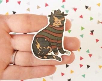 Halloween Cat Brooch Freddy Krueger Cat Pin -  cat pin - Halloween Pin - cat jewellery-Unique Boutonnière