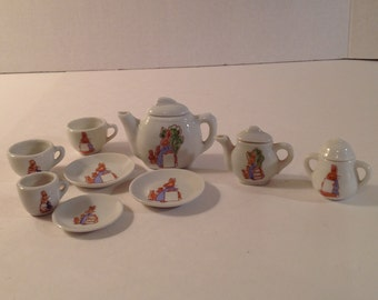 Child's Miniature Tea Set with Flopsy Bunnies Design 12 Pieces