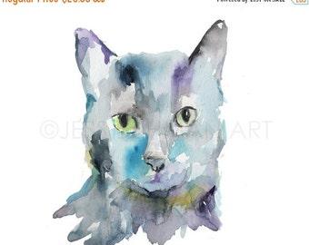 ON SALE Cat Watercolor Painting Print, Black Cat Painting, Cat Watercolor, Cat Illustration, Print of Cat, Pet Painting, Animal Watercolor