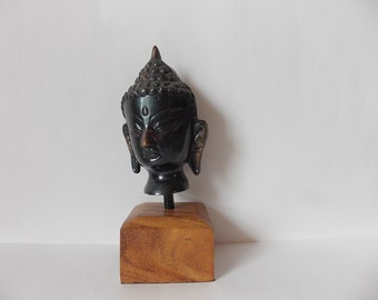 SALE Vintage Metal Buddha Head on Wooden Stand