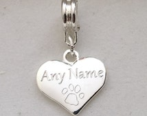 Engraved ANY NAME dog cat pet paw print clip on, bail or jump ring rememberance gift