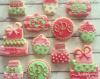 Pink, mint, and gold birthday cookie set