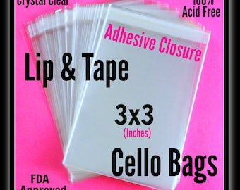100 3X3 Lip & Tape Cello Bags ..  Clear Bags, Self Sealing, Cello Bags 3x3, Adhesive Cello Bags, Adhesive Sleeve, Clear Gift Bagss