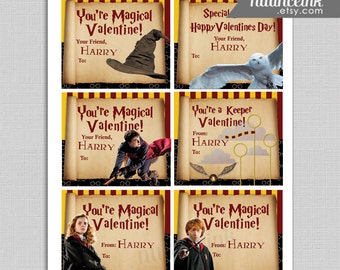 Harry Potter Valentines Personalized Cards for School Printed and Shipped Hermione Ron