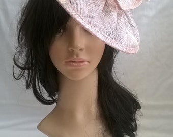 Latte Pink sparkle Fascinator ..Sinamay and  feather Fascinator...Gemma