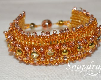 Rich gold sparkly beaded cuff bracelet