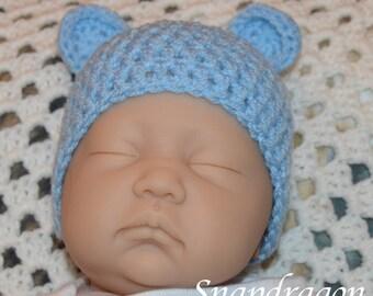 Newborn baby  blue crochet bear hat. Ready to ship 0 - 3 months