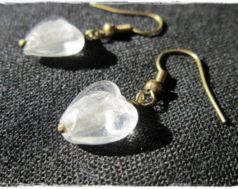 White foil glass heart earrings