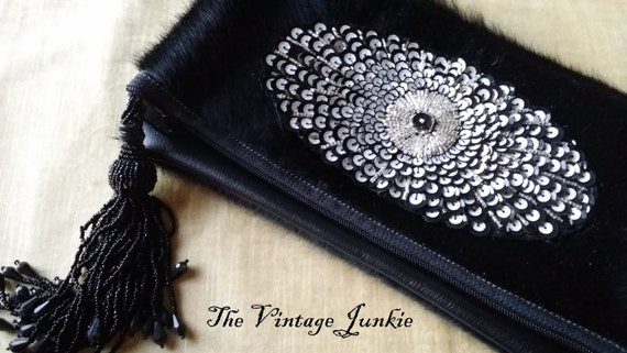 SALE The Vintage Junkie...Handmade, Black Cowhide Foldover Clutch with Vintage Sequin Applique and Beaded Tassel Pull