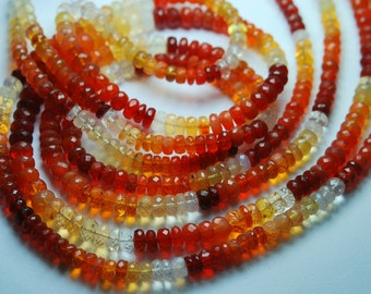 6 Inch Strand --Rare Strand Mexican Orange Fire Opal Faceted Rondelles, Size7mm