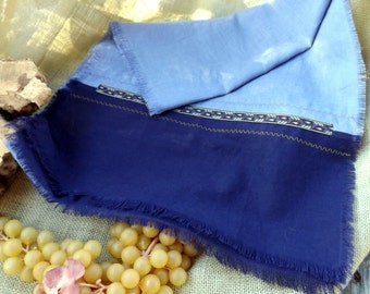 Lilac 100% Linen Shawl with Royal Purple Linen/Rayon Accent, Decorative Ribbon and Stitching with Natural Fray
