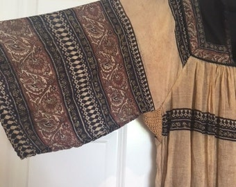 Lovely 1970's vintage indian cotton dress earthy tones bohemian