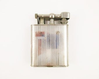 "Large 4"" Tall Chrome Lighter - Made in Japan - Flip Top With Engraving - Tobacciana - Collectible Lighter - Chrome"