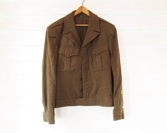 Eisenhower Jacket - Army Green - Fall Warm - Two Patches - A 1950s 'Ike Jacket' - Wool Officer's Jacket - Size 38 Long