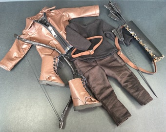 Hunger Games® Doll Costume, Katniss Everdeen Costume, Faux Leather Jacket & Boots, Shirt, Pants, Belt, Quiver, 5 Arrows