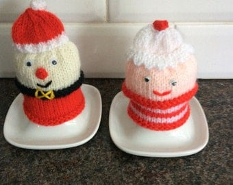 Egg Cosies hand knitted Santa and Mrs Santa Claus