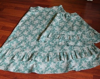 Ladies Ruffle Skirt:  YOU PICK from 50 FABRICS Ladies Cotton Long Modest Custom Skirt with Pockets size 2, 4, 6, 8, 10, 12, 14, 16, 18, 20