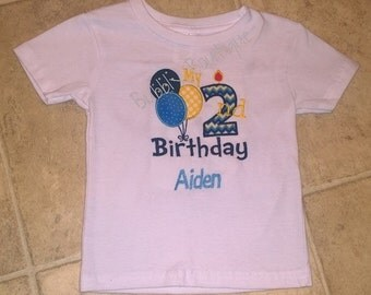 Boys 2nd birthday balloon candle shirt for brithday party / gift / pictures