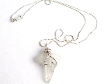 """White Bonfire Shark Tooth Shaped Sea Glass Sterling Silver 925 Wire Wrapped on a Sterling Silver 925 Diamond Cut Bead Chain Necklace 16""""-24"""""""