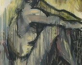 Abstract Oil Painting -  Sitting Girl Figure - Female Nude - Large Wall Art Canvas - Contemporary Art - 32x36 in (80x90 cm)