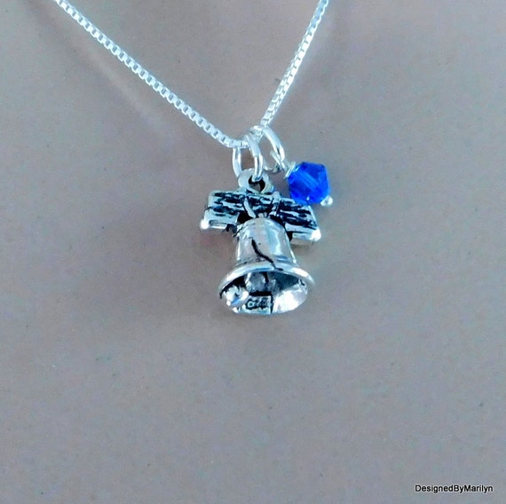 Sterling silver Liberty Bell necklace, freedom necklace, Patriotic jewelry, symbol of American freedom