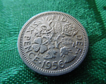1956 Six Pence Coin From Great Britain - British Good Luck Charm, Wedding Sixpence, Birth Year - Priced Per Coin