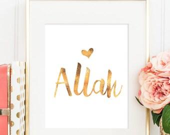 Love Allah  - Modern & Contemporary Islamic Wall Art - GOLD - Spiritual - 8x10inches