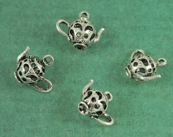 Silver 3 Dimensional Tea Pot Charms with Open Filigree- Vintage Inspired - Package of 4